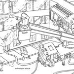 Coloring page fire brigade extinguishes fire