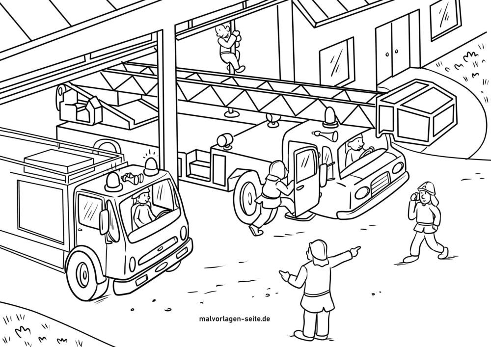 Coloring page fire station of the fire department