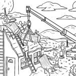 Coloring page fire brigade & technical relief organization THW