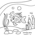 Coloring page fish next to coral