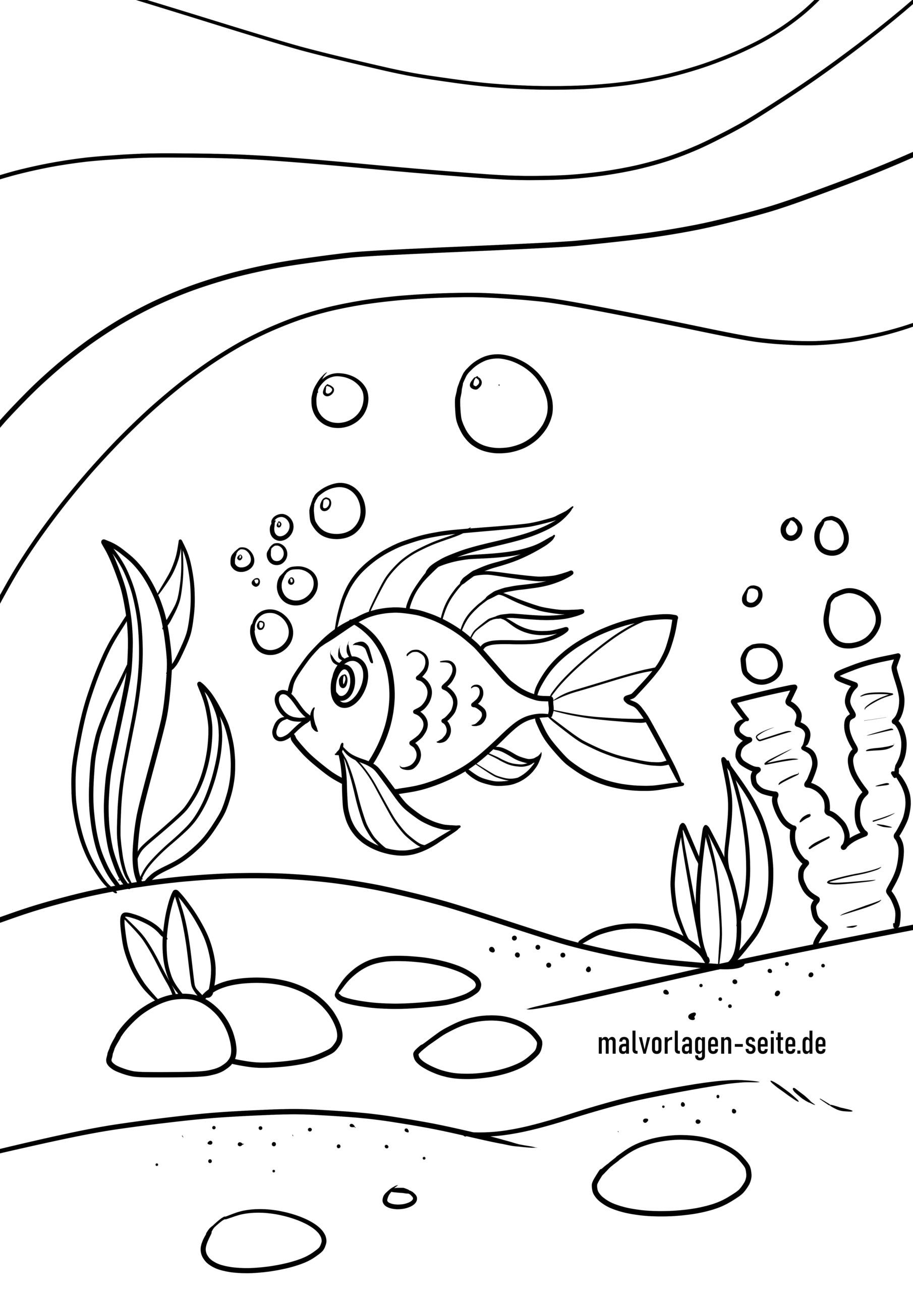 Coloring page fish in the sea