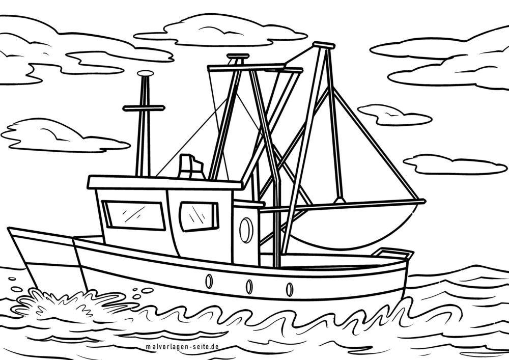 Halaman mewarnai perahu nelayan / pemotong pancing
