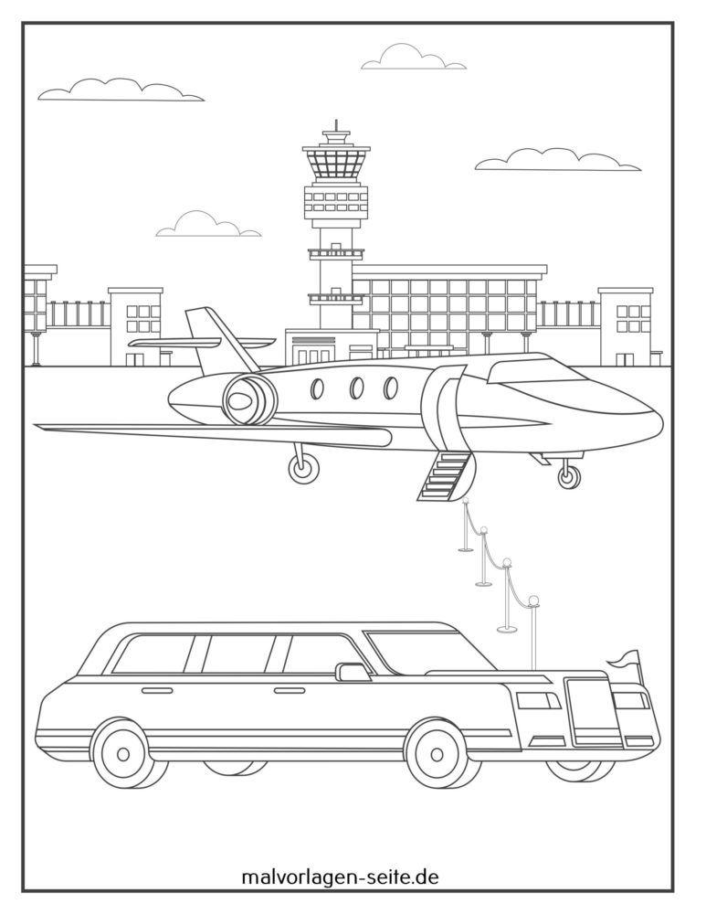 Halaman mewarnai jet pribadi dengan limusin