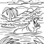 Värityskuva virtahepo | Eläimet vedessä