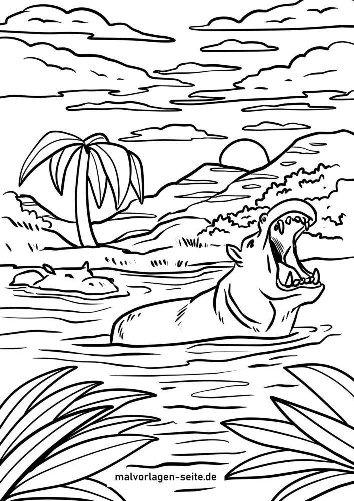 Tegninger til Farvelægning flodheste i floden