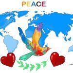Rauha-kyyhkysmalli värillisenä tekstillä Rauha