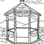 Coloring page gazebo in the garden