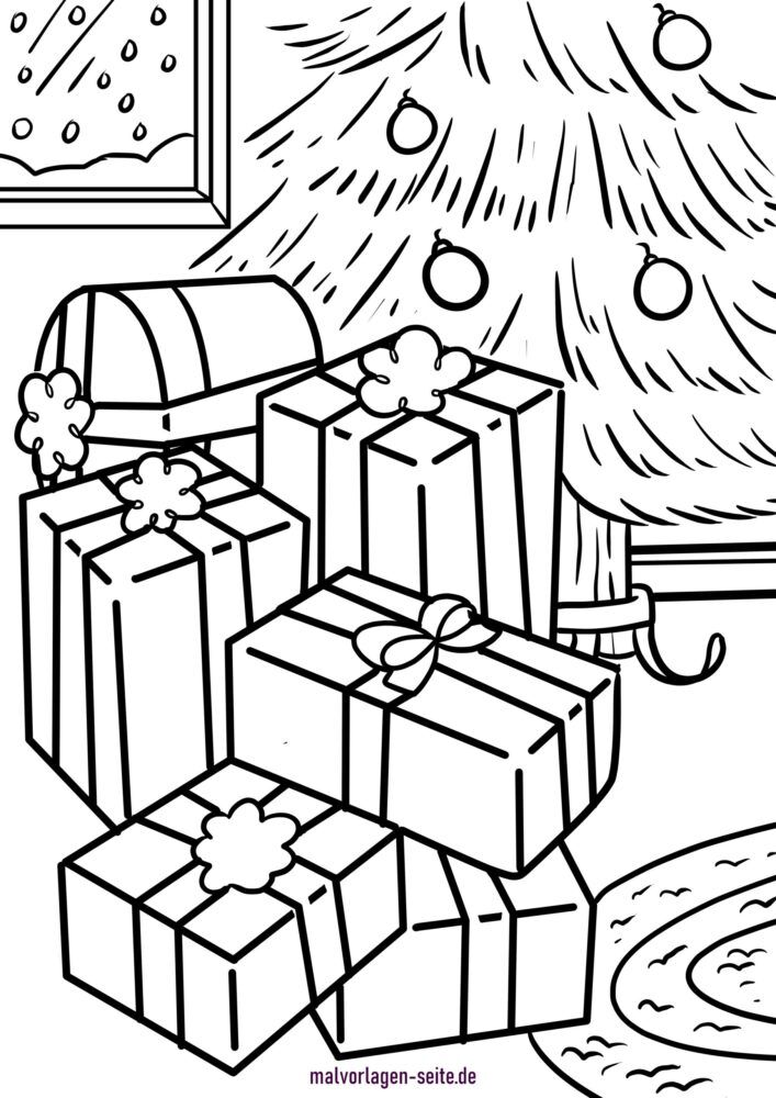 Halaman mewarnai hadiah Natal di pohon Natal