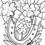 Coloring page lucky charm - horseshoe and four-leaf clover
