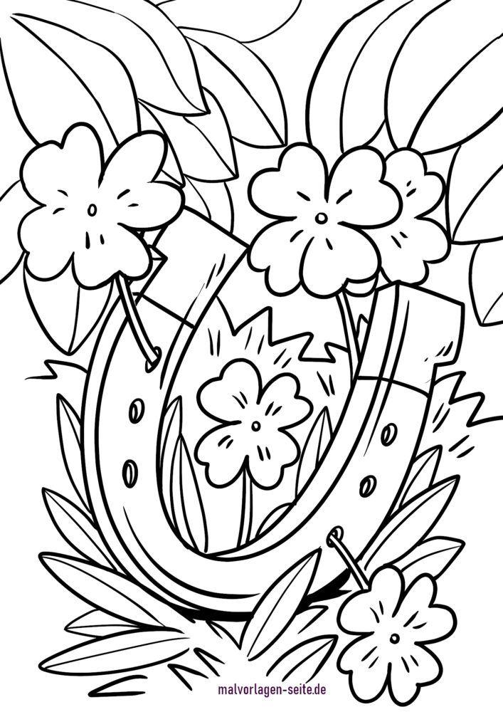 Pagină de colorat farmec norocos - potcoavă și trifoi cu patru frunze