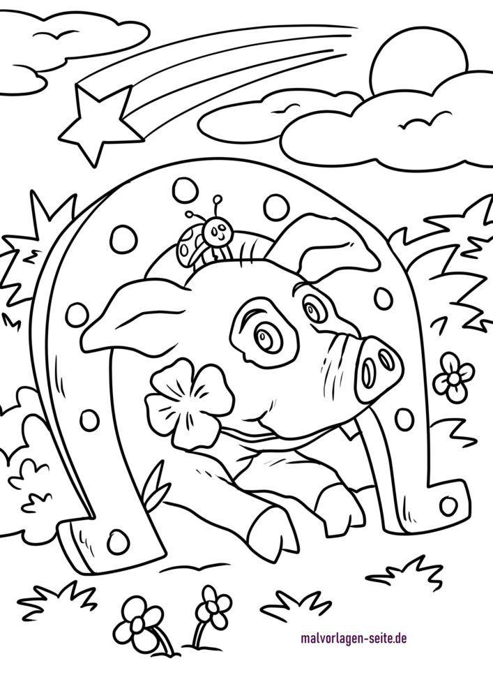 Stranica za bojanje sretni privjesci - potkova i sretna svinja