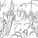 Coloriage peinture rupestre de l'âge de pierre | récit