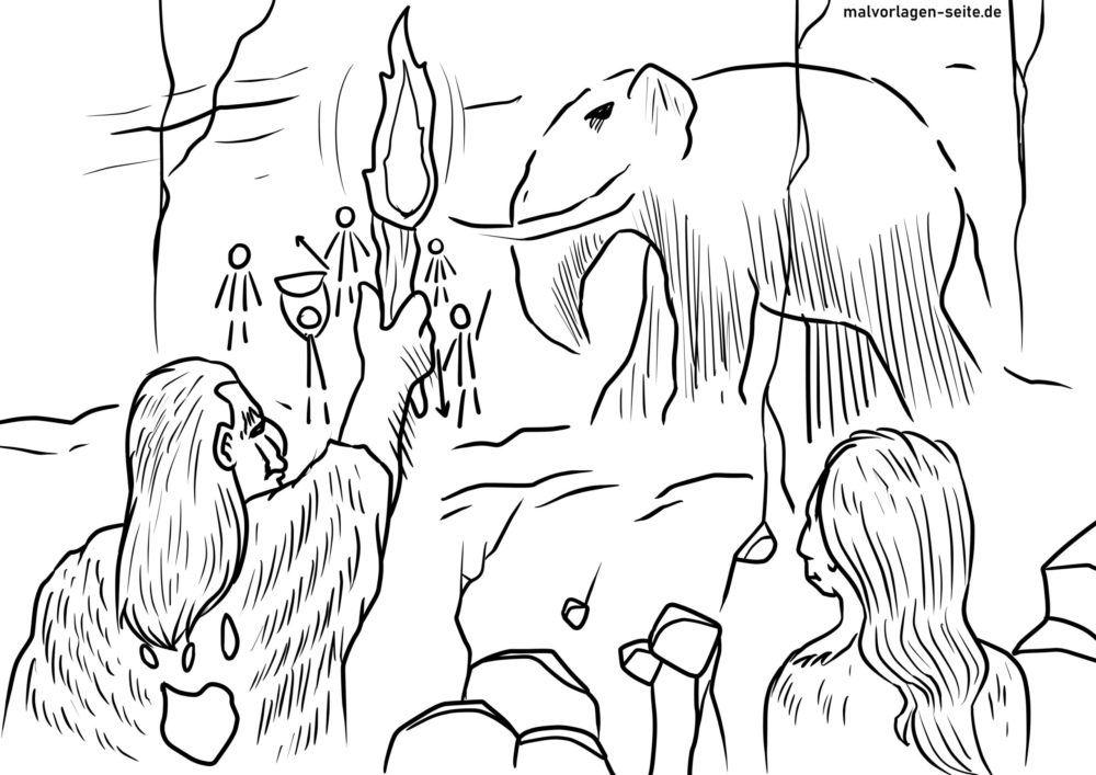 Värityskuva Kivikauden luolamaalaus
