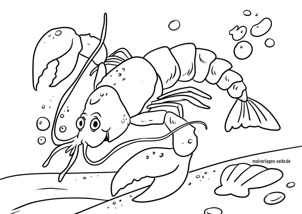 Coloring page lobster in the water