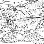 Tegninger til farvelægning kajak i en strømfald