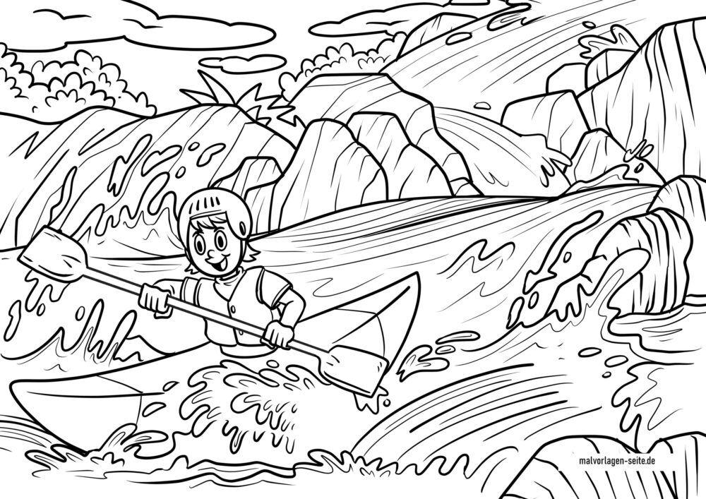 Coloriage kayak dans un rapide
