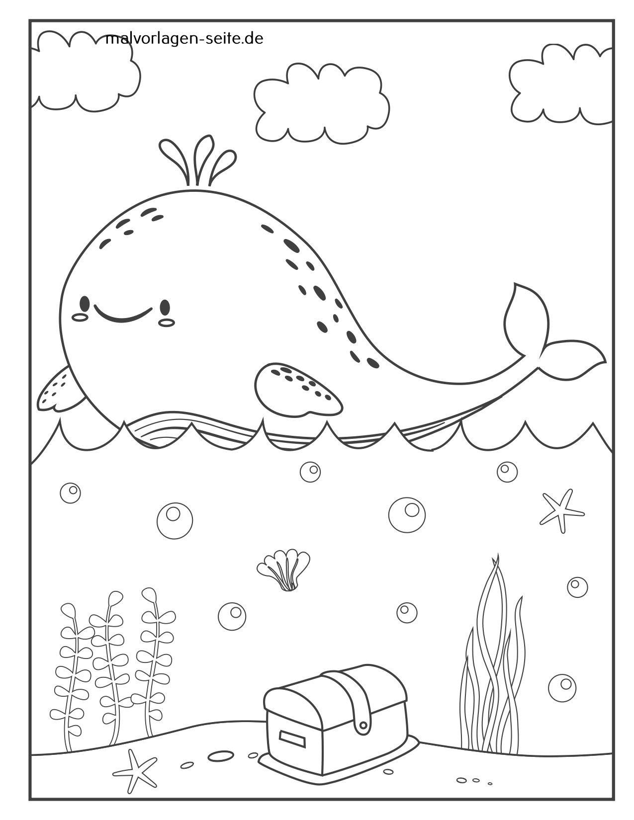 Tolle Malvorlage Wal  Tiere Im Wasser - Kostenlose Ausmalbilder
