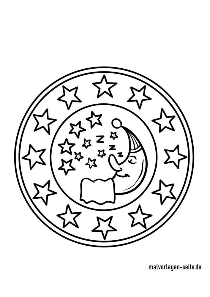 Coloring page moon and star mandala
