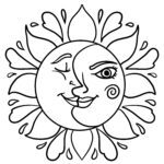 Coloring page sun and moon