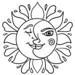 Tegninger til farvelægning sol og måne