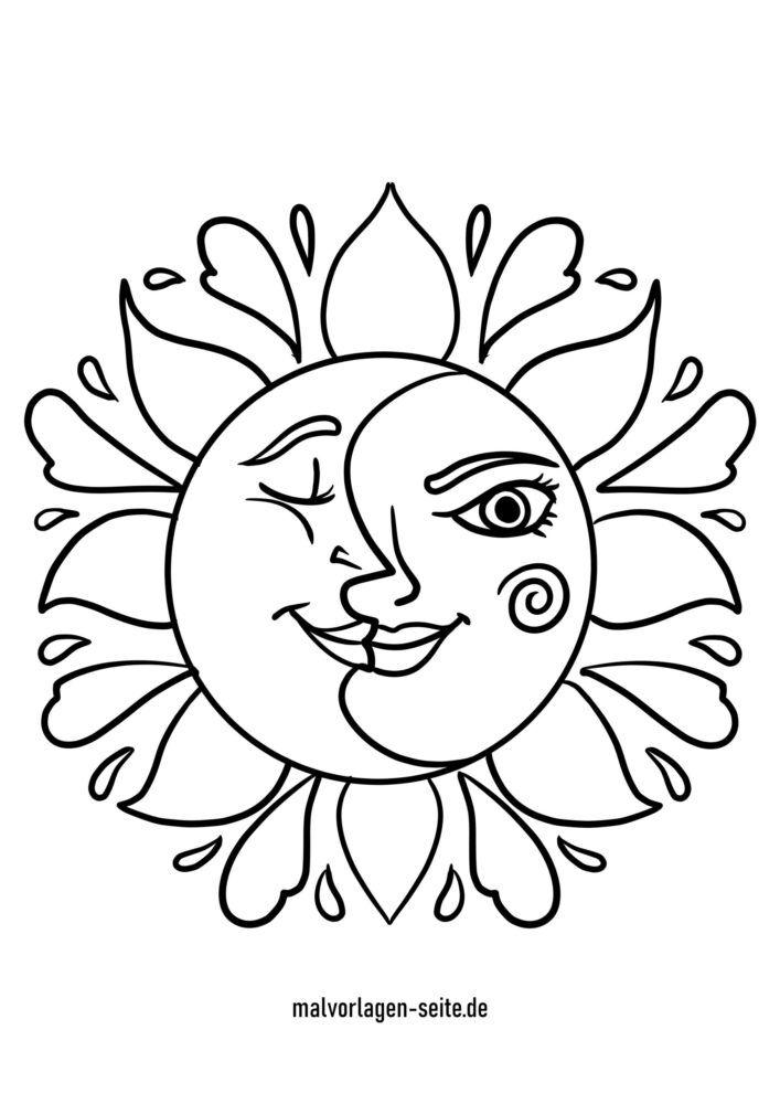 Coloriage soleil et lune