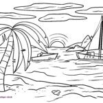 Coloring page sunset | Sun