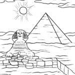 Värityskuva sfinksi pyramidin edessä