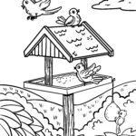 Coloring page birds feed bird feeder