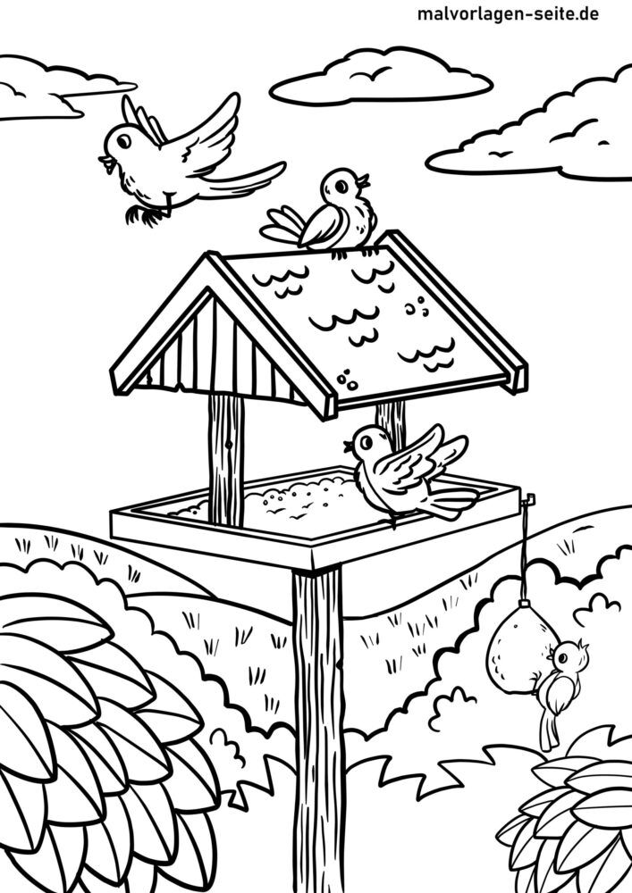 Coloring page feeding birds at the bird feeder
