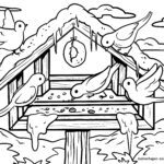 Coloring page feed birds | Bird feeder
