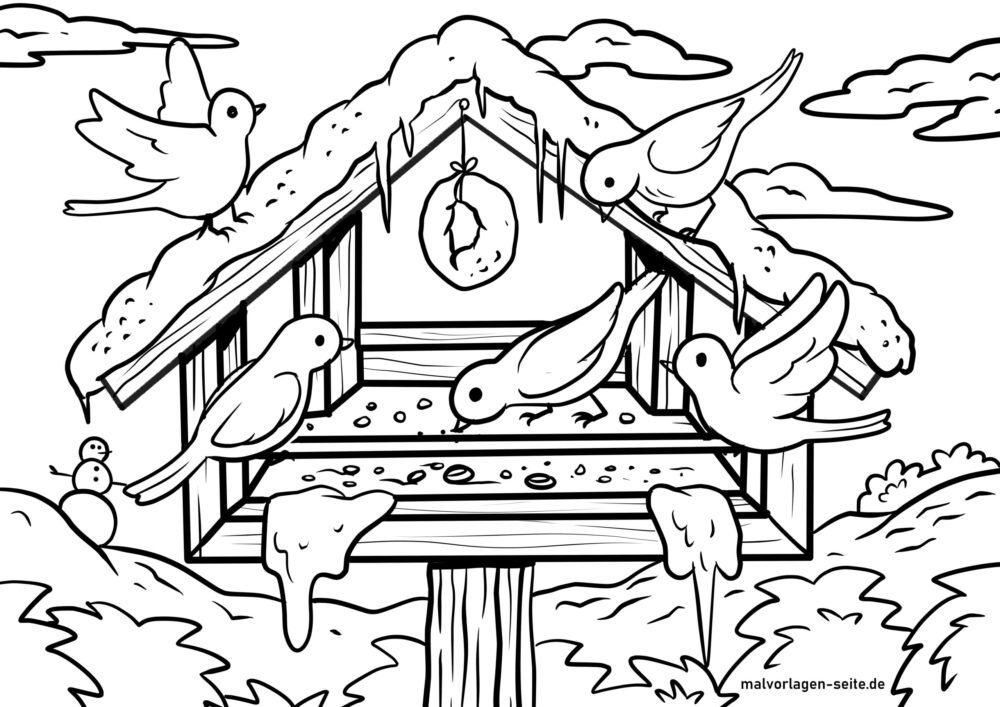 Coloring page feeding birds at the bird feeder