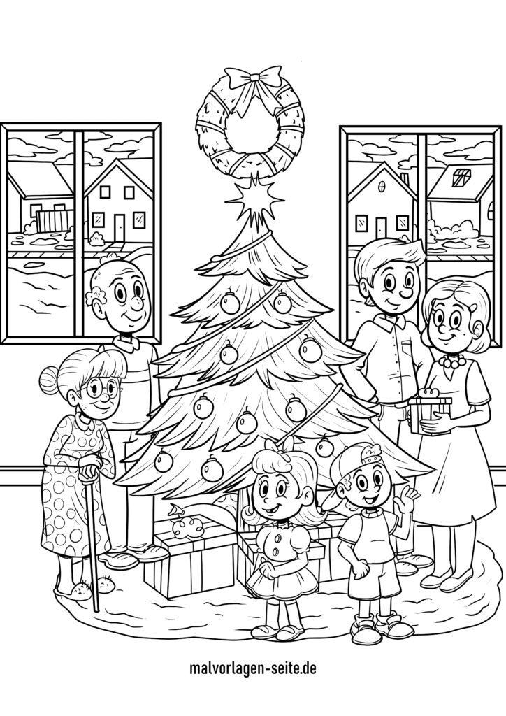 malvorlage weihnachten mit familie  kostenlose ausmalbilder