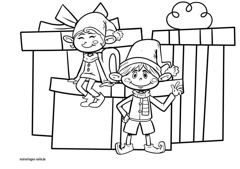 Dibujo para colorear elfos navideños