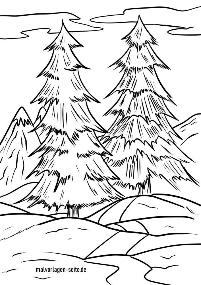 Värityskuva talvimetsä