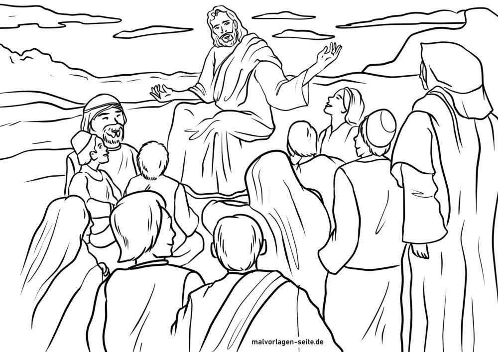 Tegninger til Farvelægning Bjergprædikenen