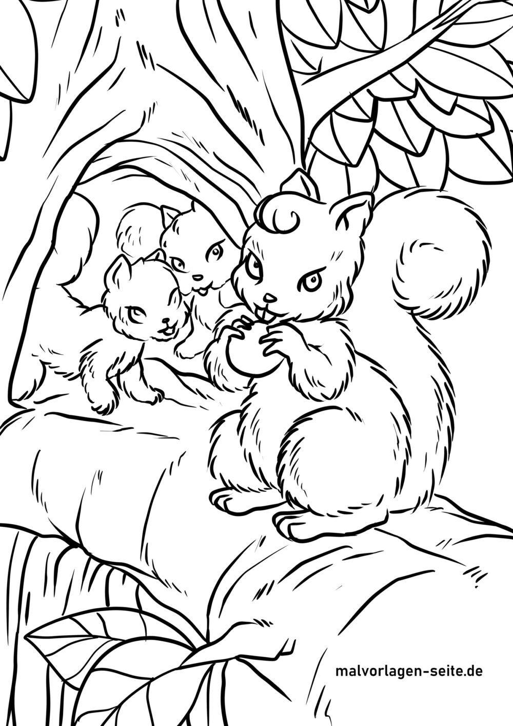 Tolle Malvorlage Eichhörnchen - Kostenlose Ausmalbilder