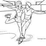 Halaman mewarnai pasangan skating skating olahraga musim dingin