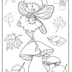 Coloring page fairy - forest fairy