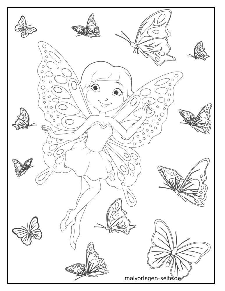 Coloriage fée avec des papillons