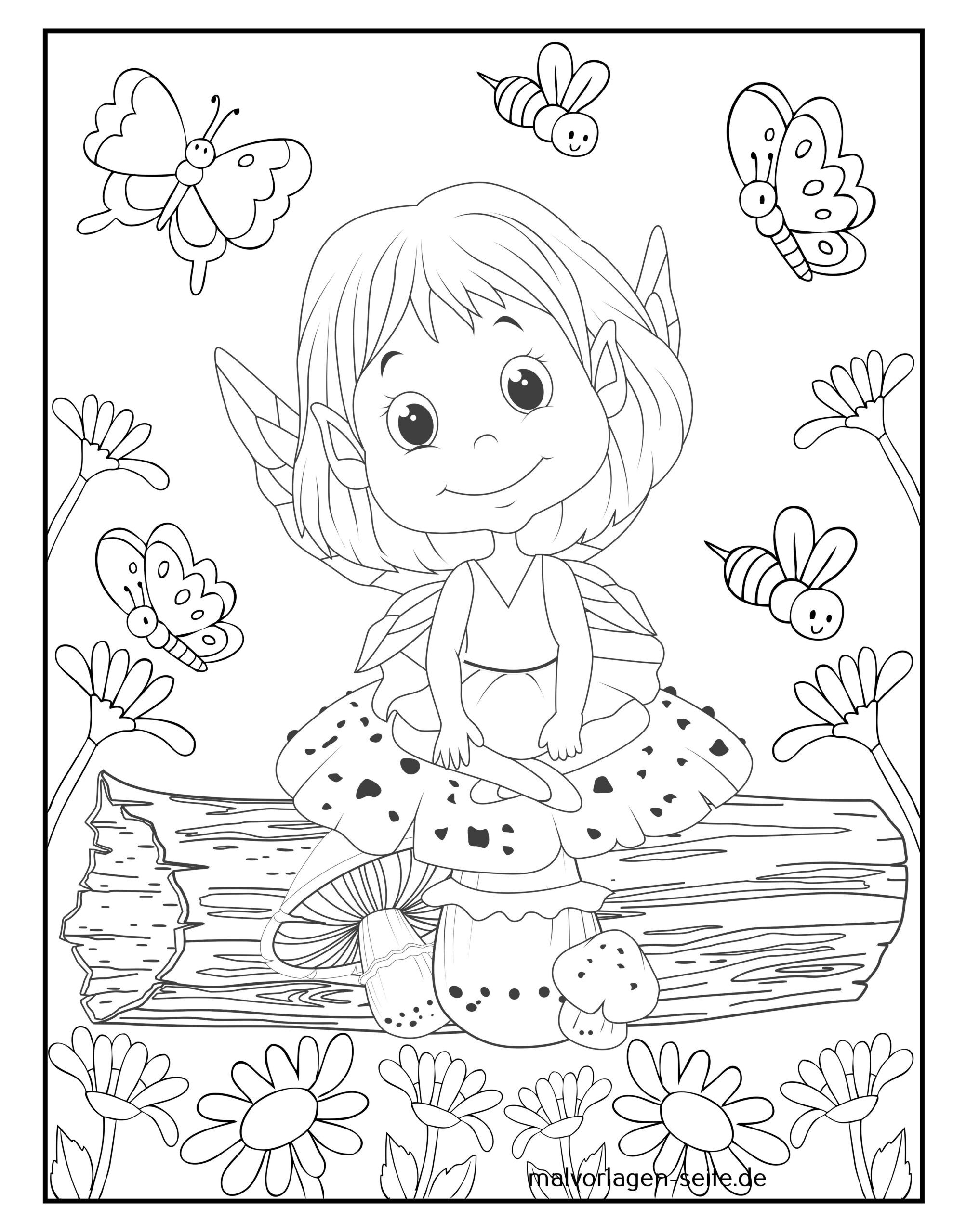 Coloring page fairy for coloring for children