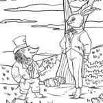 Coloring page The hare and the hedgehog fairy tale