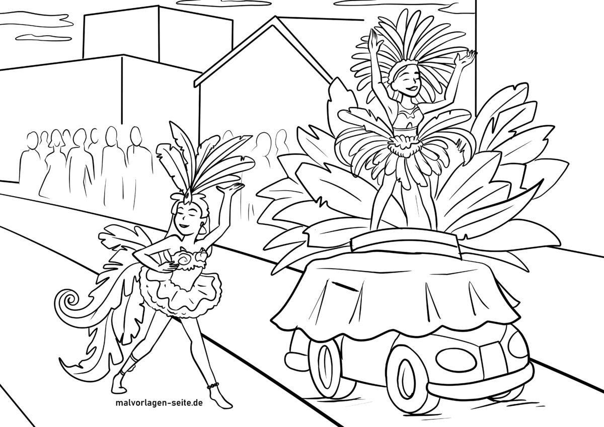 malvorlage brasilianischer karneval in rio  kostenlose