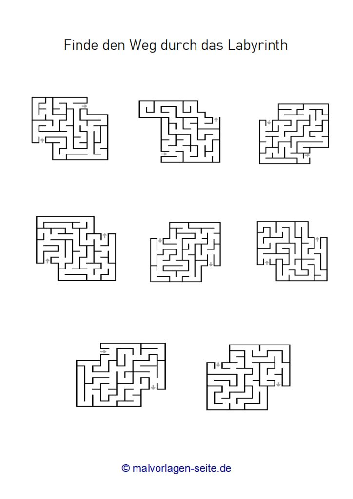 Feuille d'exercice Labyrinths - Labyrinth for Kids