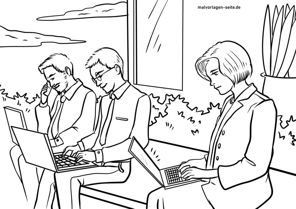 Coloring page adults on laptop