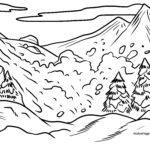 Malvorlage Lawine - Winter Berge
