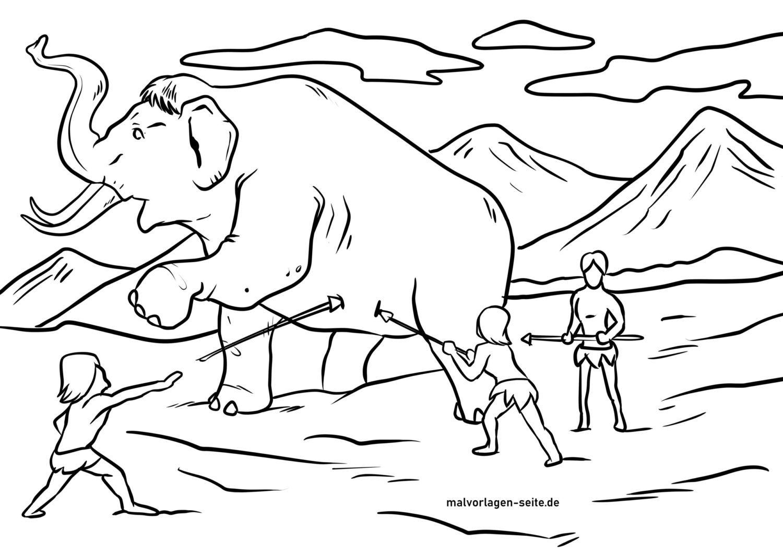 Bojanje stranica lov na mamute