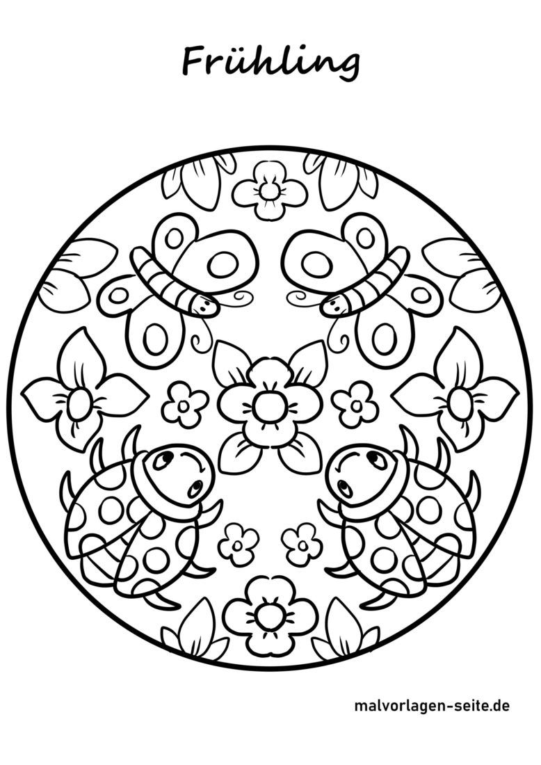 Malvorlage Frühling Mandala - Kostenlose Ausmalbilder