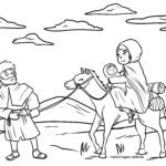 Värvimisleht Maarja Joosep ja Jeesus sõidavad eeslil