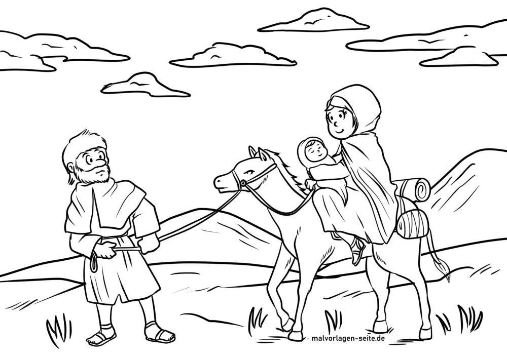 Tegninger til farvelægning Mary Joseph og Jesus ride på et æsel