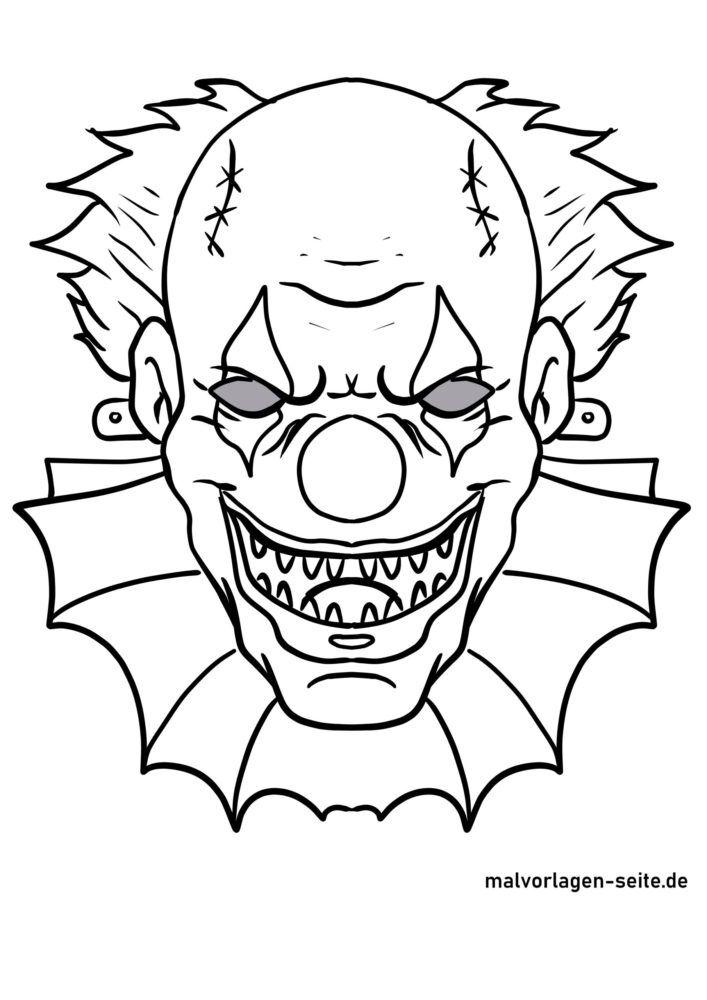 Maske Vorlage Horrorclown Masken Basteln Kostenlose Ausmalbilder